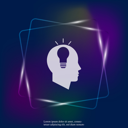 Vector neon light icon of a mans head with an idea. A man thinks. Layers grouped for easy editing illustration. For your design.