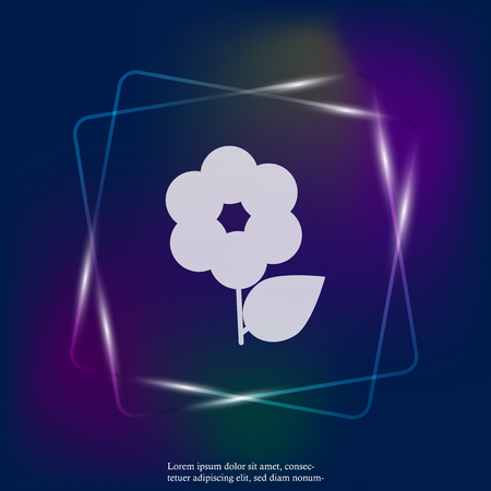 Flower vector neon light icon. Minimalist design. Layers grouped for easy editing illustration. For your design.