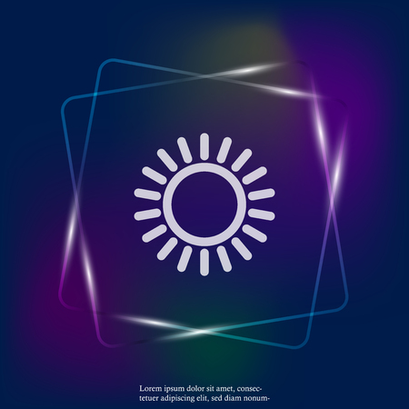 The sun neon light icon. Flat sun icon. Layers grouped for easy editing illustration. For your design.
