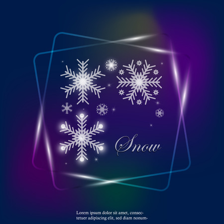 Vector Image set of snowflakes. Snowfall neon light icon. Snow in winter. The inscription Snow. Layers grouped for easy editing illustration. For your design.