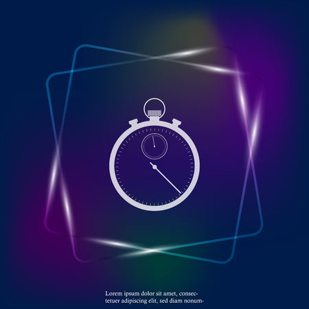 Vector stopwatch neon light icon. Layers grouped for easy editing illustration. For your design.