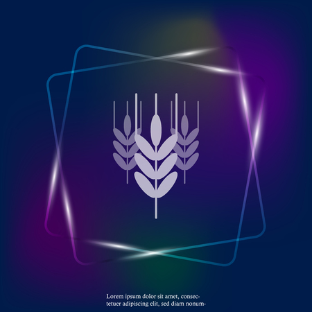 Vector neon light icon ears of wheat, cereal. Ear of oats. Rue ears. Layers grouped for easy editing illustration. For your design