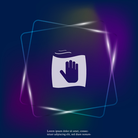 Vector neon light icon hand and rag. Symbol cleaning and cleanliness. Layers grouped for easy editing illustration. For your design. Illustration
