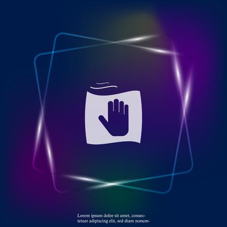 Vector néon icône main et chiffon. Nettoyage et propreté des symboles. Couches regroupées pour une édition facile de l'illustration. Pour votre conception. Vecteurs
