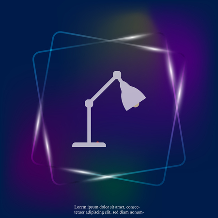 Vector illustration table lamp. Desk lamp neon light icon. Layers grouped for easy editing illustration. For your design. Stock Illustratie