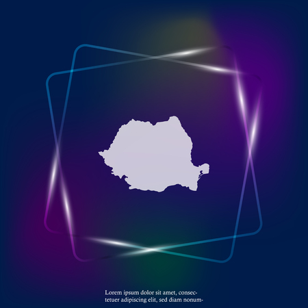 Vector neon light icon map of Romania. Layers grouped for easy editing illustration. For your design. Stock Illustratie
