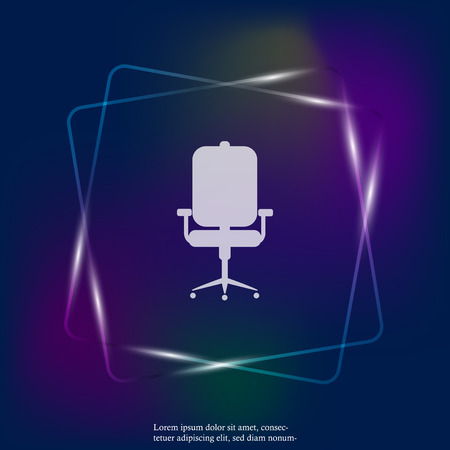 Vector neon light icon office chair. Layers grouped for easy editing illustration. For your design.