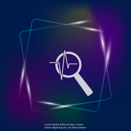 Pulse and glass magnifier vector neon light illustration. Heartbeat symbol of cardiology. Layers grouped for easy editing illustration. For your design. Stock Illustratie