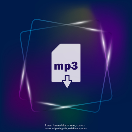 mp3 download neon light icon. Mp3 button. Layers grouped for easy editing illustration. For your design.