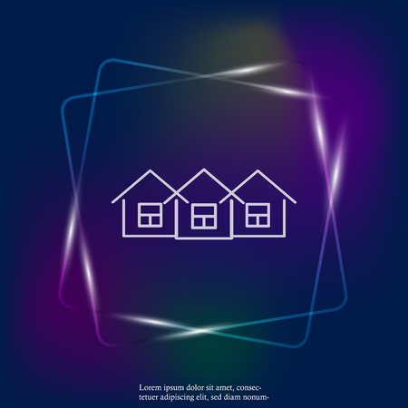 Houses vector neon light icon. Home symbol. Layers grouped for easy editing illustration. For your design.