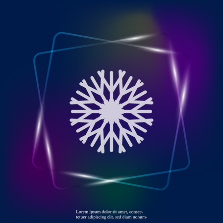 Vector neon light image of a snowflake. Snow icon. Snow in winter. Layers grouped for easy editing illustration. For your design. Stock Illustratie