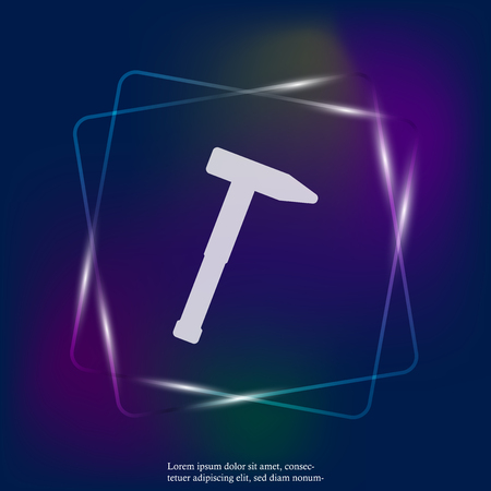 Vector hammer neon light icon. Hammer working tool. Layers grouped for easy editing illustration. For your design.