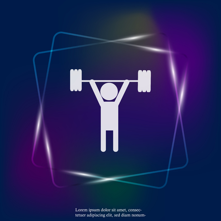 Weightlifter neon light vector icon. Vector icon person sportsman. Layers grouped for easy editing illustration. For your design.