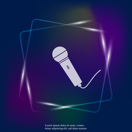 Vector neon light image of microphone. Layers grouped for easy editing illustration. For your design.
