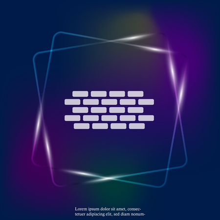 Vector brick neon light icon. Illustration of brickwork. Brick wall. Layers grouped for easy editing illustration. For your design.