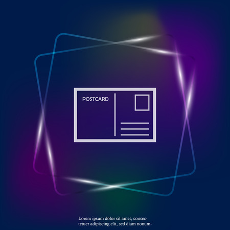Vector neon light icon postcard. Layers grouped for easy editing illustration. For your design.