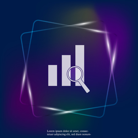 Financial graph and magnifier vector neon light illustration. Financial business forecast chart. Layers grouped for easy editing illustration. For your design.