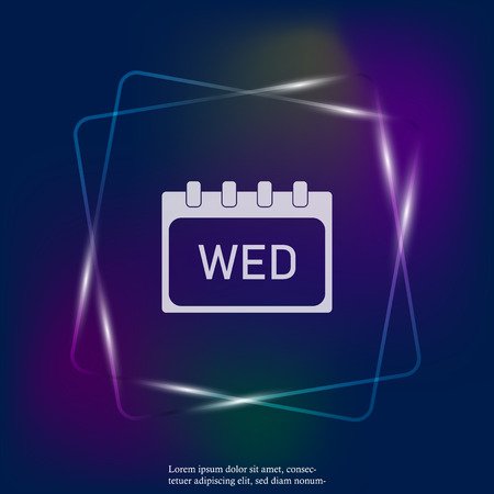 Calendar day of the week Wednesday. Vector neon light illustration done. Layers grouped for easy editing illustration. For your design. Stock Illustratie