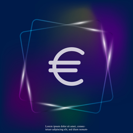 Vector neon light image of the euro sign. Flat image euro icon. Layers grouped for easy editing illustration. For your design. 向量圖像