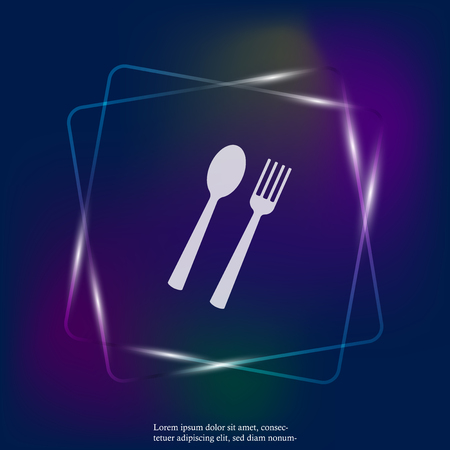 Vector set icon fork, spoon. Cutlery. Table setting neon light icon. Layers grouped for easy editing illustration. For your design. Stock Illustratie