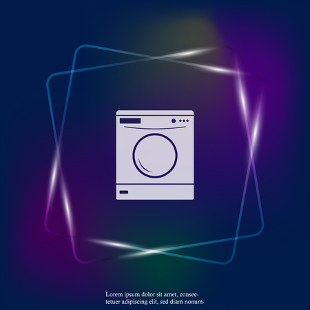 Vector neon light  icon washing machine. Flat image home appliances. Layers grouped for easy editing illustration. For your design.