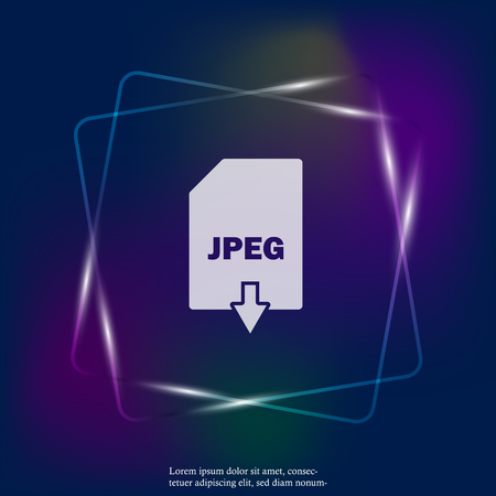 Jpeg download neon light icon. Jpeg button. Layers grouped for easy editing illustration. For your design. Stock Illustratie
