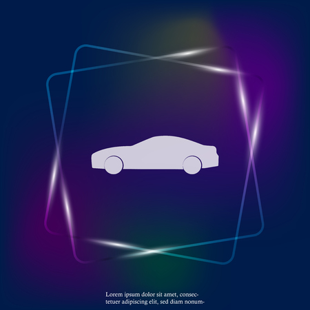 Cars vector neon light icon. Symbol of the road transport. Layers grouped for easy editing illustration. For your design.