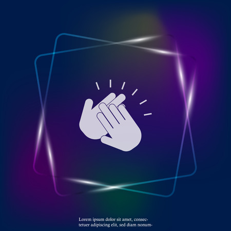 Applause neon light  icon. A symbol of clapping. Business illustration workflow. Layers grouped for easy editing illustration. For your design.