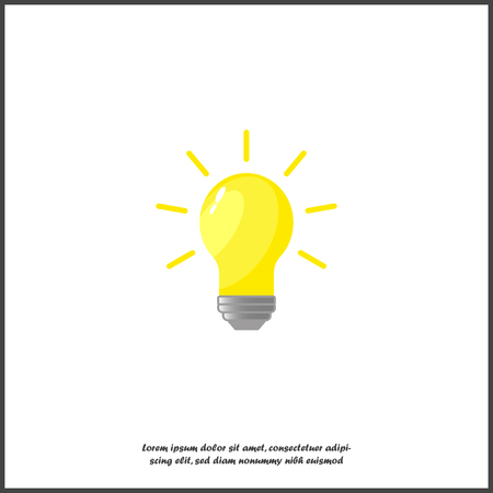 Vector burning light bulb. From the lamp the rays of bright yellow light diverge. Symbol of thoughts, ideas, mind icon on white isolated background. Layers grouped for easy editing illustration. For your design. Illustration