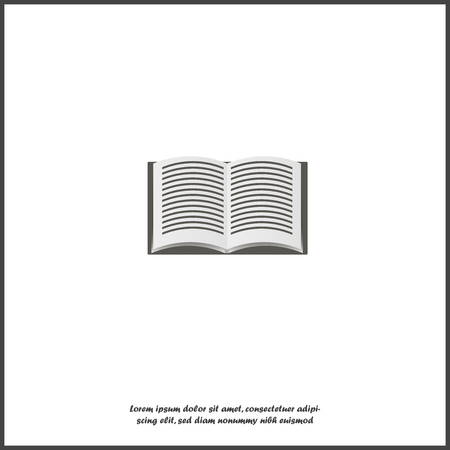 Vector icon of  open book on white isolated background. Layers grouped for easy editing illustration. For your design. Vettoriali