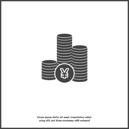 Icon of yen currency. Yen money. Symbol of Japanese currency on white isolated background. Layers grouped for easy editing illustration. For your design.