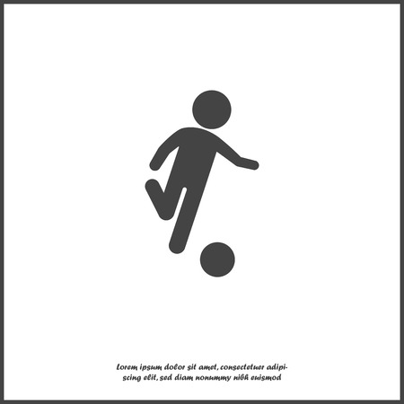 Man playing ball vector icon. Soccer player on white isolated background. Layers grouped for easy editing illustration. For your design. Ilustração