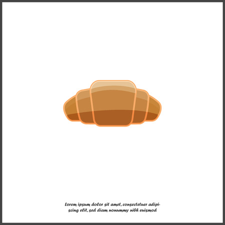 Croissant vector icon. Breakfast symbol, delicious pastries on white isolated background  イラスト・ベクター素材