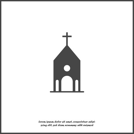 Church building icon. Vector religious church illustration icon on white isolated background. Layers grouped for easy editing illustration. For your design.