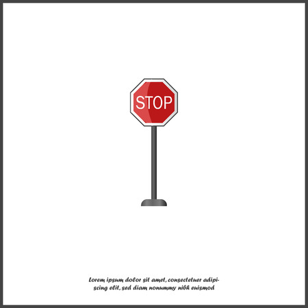 Realistic road sign stop - vector icon. 3d road sign stop on white isolated background.  Layers grouped for easy editing illustration.