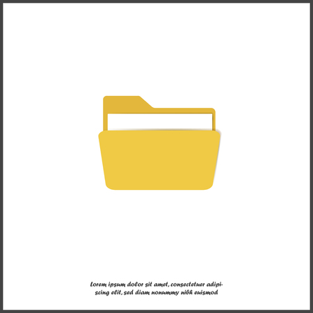 Yellow folder icon with a sheet of paper. Vector folder icon on white isolated background. Layers grouped for easy editing illustration. For your design.