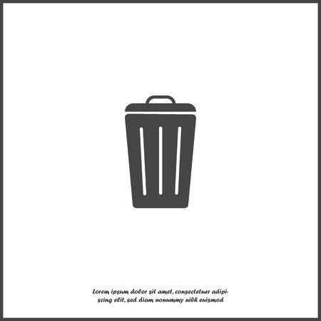 Container recycling of garbage sign isolated. Flat icon bin on white isolated background. Flat image Trash can. Layers grouped for easy editing illustration. For your design.