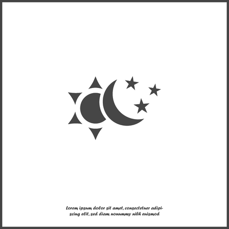 Sun and moon with stars vector icon. The symbol of the change of day and night on white isolated background. Layers grouped for easy editing illustration