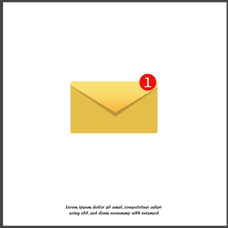Vector icon - notification of the message. The symbol is one new message. One new letter on white isolated background. Layers grouped for easy editing illustration. For your design.