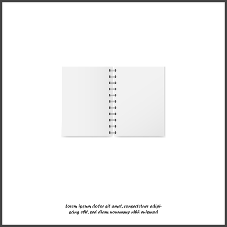 Vector illustration of a realistic open exercise book with a silver spiral. Vertical blank business notebook on metal rings on white isolated background. Layers grouped for easy editing illustration. For your design.