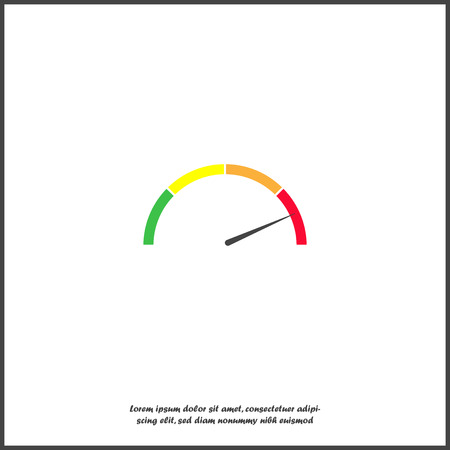 Speedometer vector on white isolated background. Layers grouped for easy editing illustration. For your design. Çizim