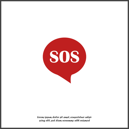 Sos pin marker on transparent background. Speech vector icon  boubble SoS on white isolated background. Layers grouped for easy editing illustration. For your design.