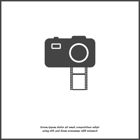 Vector illustration of a digital camera with film. Retro camera icon on white isolated background.  Layers grouped for easy editing illustration. For your design. Illustration