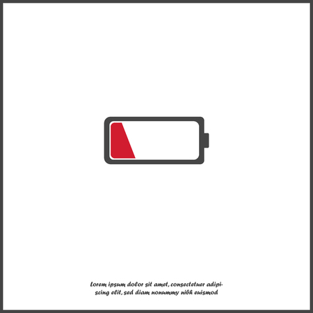 Out of battery charge vector icon. Low red battery on white isolated background.Layers grouped for easy editing illustration. For your design.