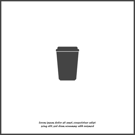 Vector icon disposable cup of coffee. Stale coffee drink in the dishes. Layers grouped for easy editing illustration. For your design.