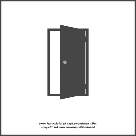 Open door vector icon. Icon indicating room entrance or exit on white isolated background. Layers grouped for easy editing illustration. For your design.