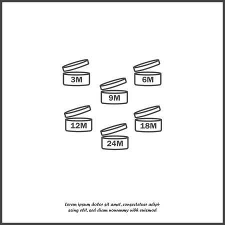 Vector set of icons indicating the period of the product after the opening. Expiration date after opening the package icon on white isolated background. Layers grouped for easy editing illustration. For your design.