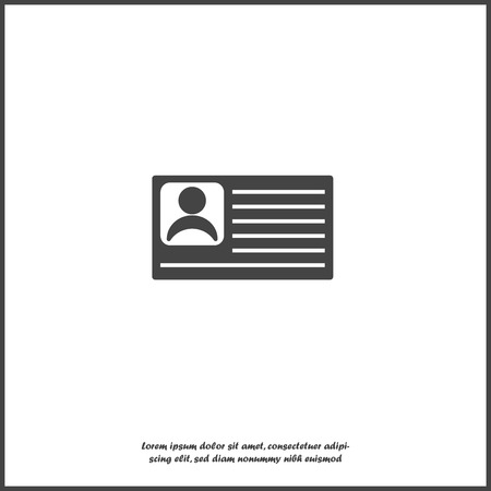 Vector icon person card, customer card. Vector illustration of a identification badge with a photo on white isolated background. Layers grouped for easy editing illustration. For your design.