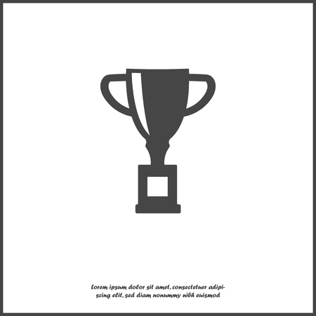 Vector image trophy cup. Cup symbol of winning, encouraging, receiving a prize. Award on white isolated background. Layers grouped for easy editing illustration. For your design.