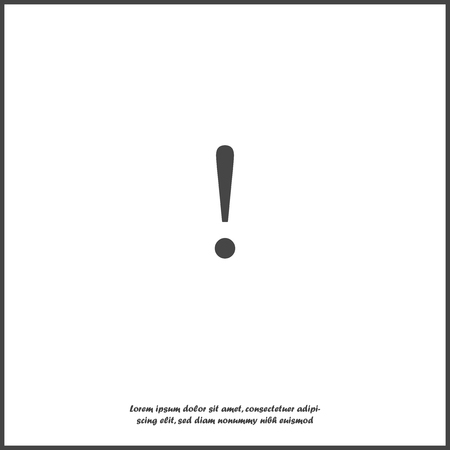 Danger sign flat icon on gray background. Flat image symbol of attention caution with shadow. Exclamation hazard warning attention on white isolated background. Layers grouped for easy editing illustration. For your design. Иллюстрация